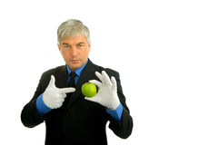 Man portrait. Businessman with a green apple Stock Image