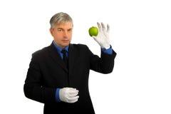 Man portrait. Businessman with a green apple Stock Photos