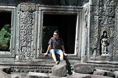 Man Portrait, Angkor Wat, Siem Reap,  Cambodia Stock Photo
