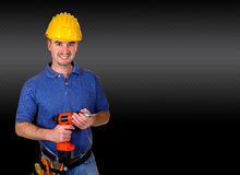 man portrait background. Isolated standing young worker with space for text Stock Photography