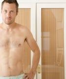 Man portrait in bedroom. Stock Images