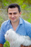 Man portrait with dog Stock Photography
