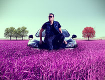 Man portrait and his car. Royalty Free Stock Photos