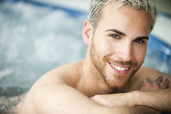 Man portrait in jacuzzi Royalty Free Stock Images