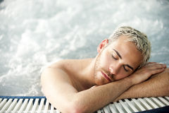 Man portrait in jacuzzi Royalty Free Stock Photography