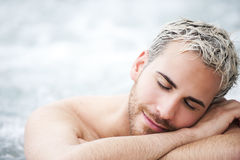 Man portrait in jacuzzi Royalty Free Stock Image