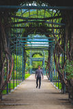 Man portrait with a Maze path in the park. Man portrait in a symmetryc Maze path in the park Stock Photography