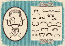 Man portrait and mustaches.Retro Royalty Free Stock Images