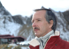 Man portrait outdoors. Middle aged man portrait outdoors, in mountainous area stock photos