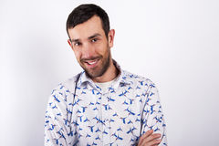 Man portrait over white background smiling. In modern shirt. Royalty Free Stock Photos