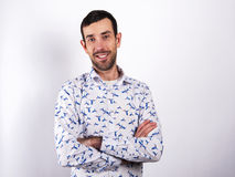 Man portrait over white background smiling. In modern shirt. Stock Image