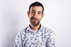 Man portrait over white background smiling. In modern shirt. Royalty Free Stock Images