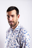 Man portrait over white background smiling. In modern shirt. Royalty Free Stock Photo