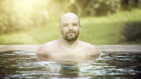 Man portrait pool Royalty Free Stock Image