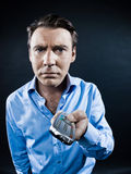 Man Portrait Remote Control Fail Stock Photo