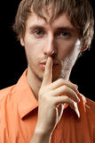 Man Portrait saying silence stock photography