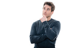 Man portrait thinking anxious looking up Stock Photo
