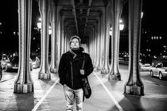 Man portrait under bridge in Paris Royalty Free Stock Photo