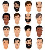 Man portrait vector male character face of boy with hairstyle and cartoon manlike person with various skin tone and. Beard illustration set of masculine facial Stock Photo