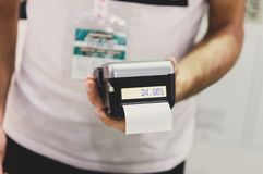 Man with POS machine getting ready to for the payment royalty free stock photos