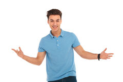 Man posing with arms wide open Royalty Free Stock Image