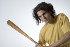 Man Posing with Baseball Bat - Horizontal Royalty Free Stock Photo