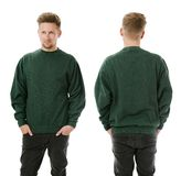 Man posing with blank green sweatshirt Royalty Free Stock Photos