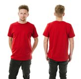 Man posing with blank red shirt Stock Image