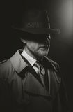 Noir movie character. Man posing in the dark with a fedora hat and a trench coat, 1950s noir film style character stock image