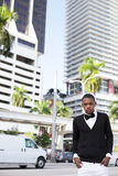Man posing at Downtown Miami Stock Photos