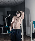 Man posing in gym. Young adult man posing in gym Royalty Free Stock Images
