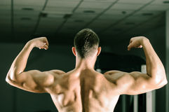 Man posing in gym. Young adult man posing in gym Stock Photo