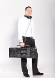 Man posing with old school boombox Royalty Free Stock Photography