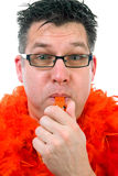 Man is posing in orange outfit Royalty Free Stock Image