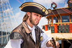 Man posing in pirate outfit on Sopot molo Stock Images