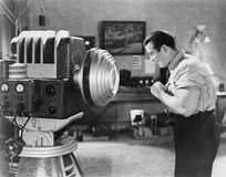 Man posing for sc -fi camera. (All persons depicted are no longer living and no estate exists. Supplier grants that there will be no model release issues Stock Image