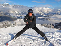 Man posing on ski slope Royalty Free Stock Photography