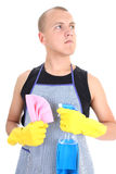 Man posing with spray and dusher Royalty Free Stock Images