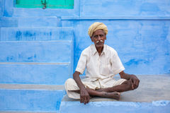 Man posing in the street of Jaisalmer,India royalty free stock image