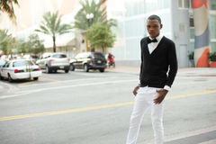 Man posing on the streets of Miami Stock Image