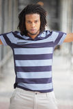 Man posing in a striped shirt Royalty Free Stock Photo