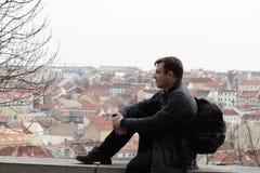 Man posing at Vitkov hill Royalty Free Stock Photos