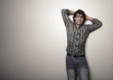 Man posing on a white background royalty free stock photos
