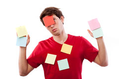Man with post-it Stock Image