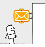 Man & post office sign. Hand drawn cartoon characters - man & post office sign Royalty Free Stock Photos