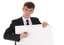 Man with poster. Man with broadsheet on white Royalty Free Stock Photos