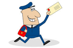 Man the postman runs with the letter in hand. Vector illustration Stock Image