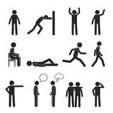 Man posture pictogram icons set. Human body action Stock Photography