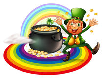 A man beside a pot of gold coins Royalty Free Stock Images