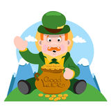 The man with a pot of gold. St. Patrick Day. Royalty Free Stock Image